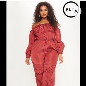 72424de054a38 PrettyLittleThing Other - PrettyLittleThing Maroon Jumpsuit  Plus